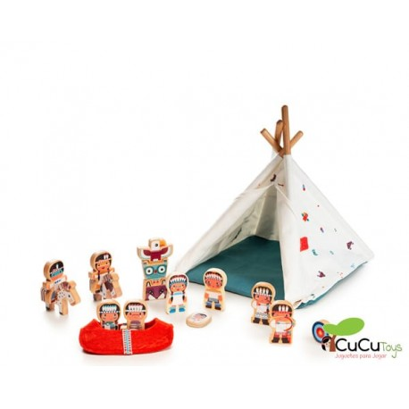 Lilliputiens - Tipi y tribu india, juguete de peluches