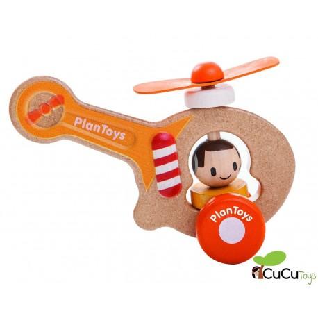 Plantoys - Helicóptero de juguete con ruedas en madera