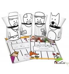 Set de cartró - Marionetas de cartón reciclado, diseño Los 3 cerditos