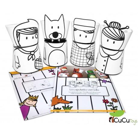 Set de cartró - Marionetas de cartón reciclado, diseño Caperucita