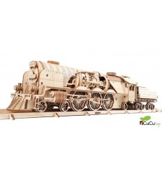 UGears - V-Express Steam Train with Tender, 3D mechanical model
