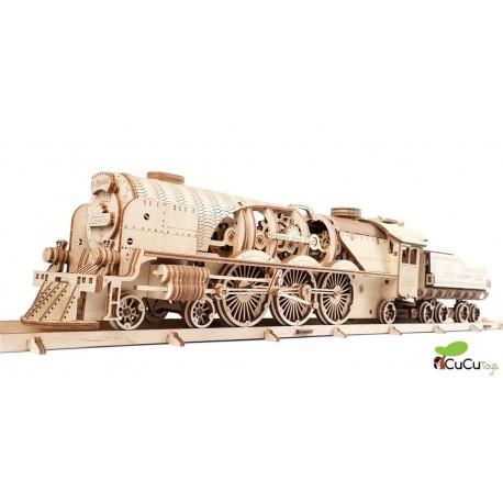 UGears - Tren de vapor V-Express con ténder, kit de madera 3D