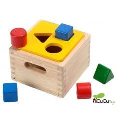 Plantoys - Caja de madera con formas encajables, juguete educativo