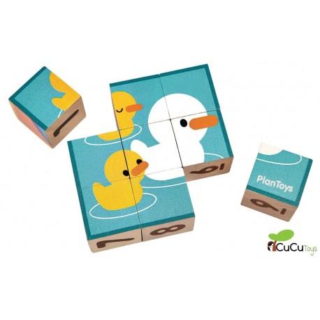 Plantoys - Puzzle de cubos de madera, juguete ecológico
