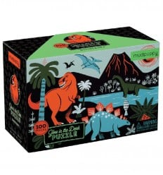 MudPuppy - Dinosaurios, puzzle de 100 piezas que brilla en la oscuridad