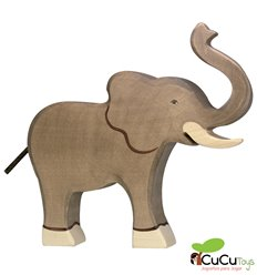 Goki - Hand carved wood African elephant
