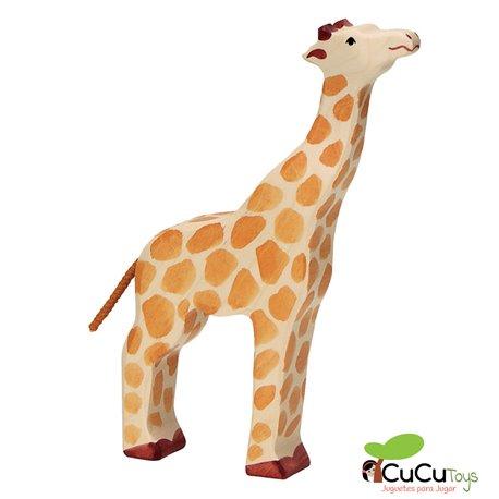 Goki - Hand carved wood feeding Giraffe