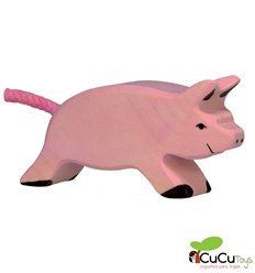 Goki - Hand carved wood Piglet running