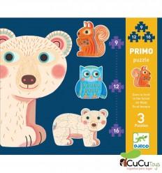 Djeco - In the forest, progressive puzzle 9-12-16 pieces