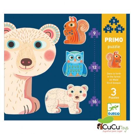 Djeco - En el bosque, puzzle evolutivo 9-12-16 piezas