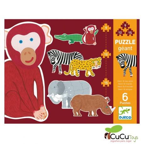 Djeco - Henri y amigos, puzzle evolutivo 9-12-15 piezas