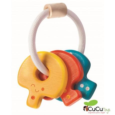 Plantoys - Sonajero llavero, juguete de madera