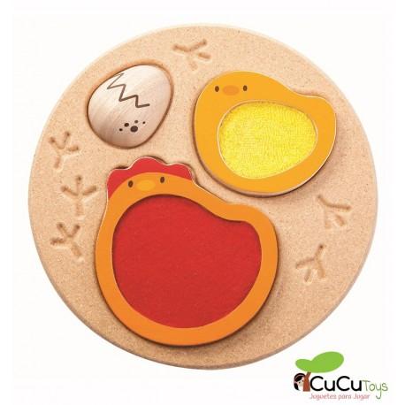 Plantoys - Puzzle pollitos, juguete de madera