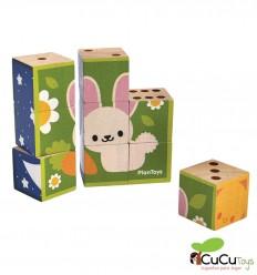 Plantoys - Rompecabezas de madera 6 en 1, juguete ecológico