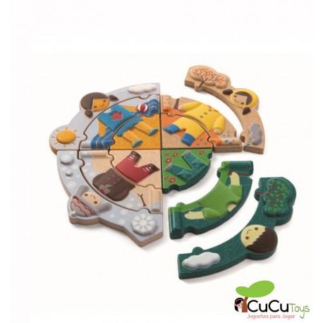 Plantoys - Puzzle y plantilla ¿Que tiempo hace hoy?, juego de madera