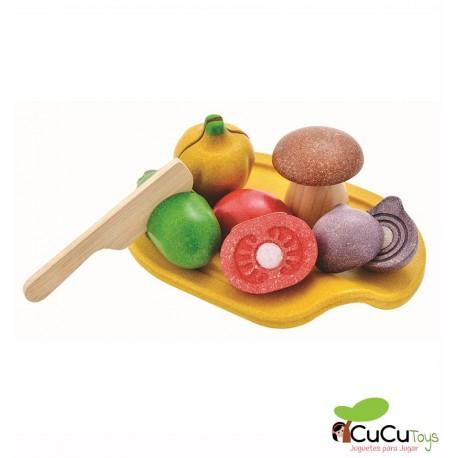 Plantoys - Bandeja de verduras para cocinitas, juguete de madera