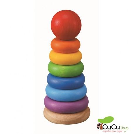 PlanToys - Juego de apilar y clasificar anillos, juguete de madera