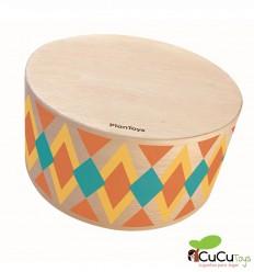 PlanToys - Cajón de percusión, instrumento musical infantil