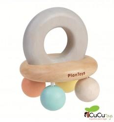 Plantoys - Sonajero Campana Pastel, juguete de madera
