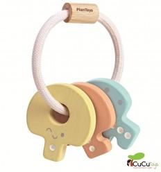 Plantoys - Sonajero llavero pastel, juguete de madera