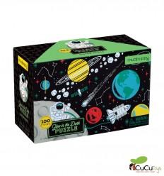 MudPuppy - Espacio exterior, puzzle de 100 piezas que brilla en la oscuridad