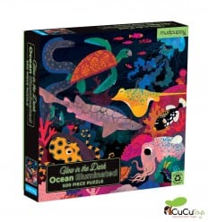MudPuppy - Océanos, puzzle de 500 piezas que brilla en la oscuridad