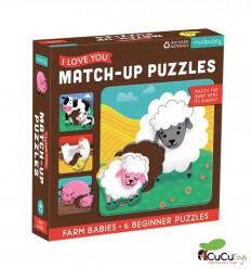 MudPuppy - Relaciona y encaja - Bebés de la Granja, 6 puzzles de 2 piezas