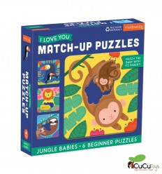 MudPuppy - Match Up 2pz 6 Puzzles, Jungle Babies