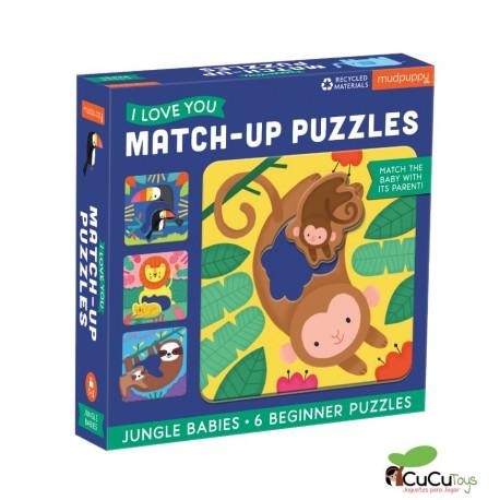 MudPuppy - Relaciona y encaja - Bebés de la Jungla, 6 puzzles de 2 piezas