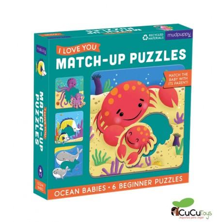 MudPuppy - Relaciona y encaja - Bebés del océano, 6 puzzles de 2 piezas