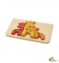 Plantoys - Knob Puzzle with giraffes, eco-toy