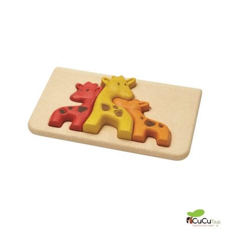 Plantoys - Puzzle encajable de jirafas, juguete ecológico