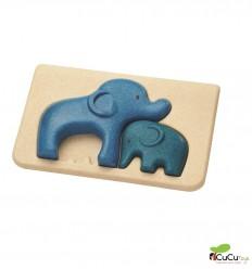Plantoys - Knob Puzzle with Elephants, eco-toy