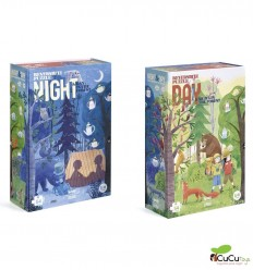 Londji - Night & Day In the Forest, Shape & reversible 54 pz puzzle - Cucutoys