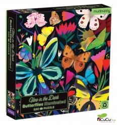 MudPuppy - Mariposas, puzzle de 500 piezas que brilla en la oscuridad