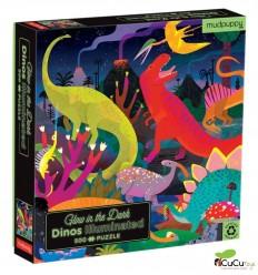 MudPuppy - Dinos, puzzle de 500 piezas que brilla en la oscuridad