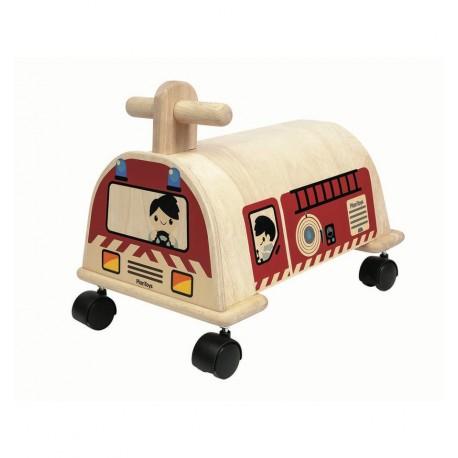 PlanToys - Correpasillos de madera, Coche de Bomberos