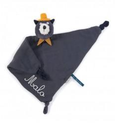 Moulin Roty - Doudou mantita gato gris oscuro - Les Moustaches