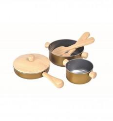 PlanToys - Utensilios de cocina, juguete de madera