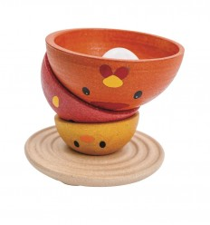 PlanToys - juguete apilable de madera, diseño Pollitos