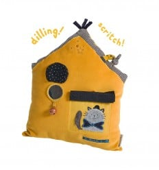 Moulin Roty - Activity Cushion mustard house - Les Moustaches