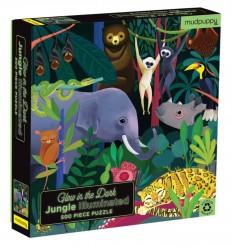 MudPuppy - Jungla, puzzle de 500 piezas que brilla en la oscuridad