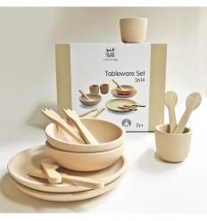 Plantoys - Platos y cubiertos de madera natural, juguete de madera