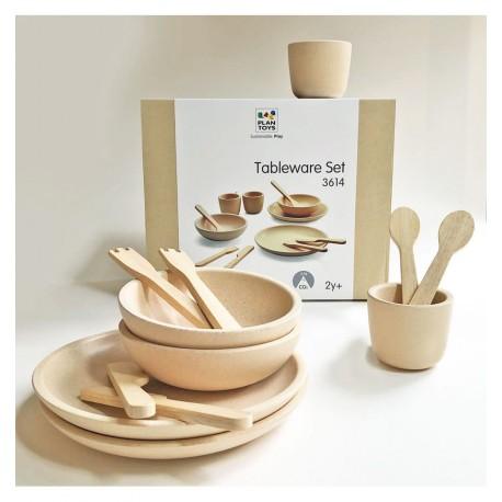 Plantoys - Platos y cubiertos madera natural juguete de madera