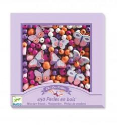 Djeco - 450 perlas de madera - Mariposas