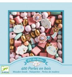 Djeco - 400 perlas de madera - Arcoíris