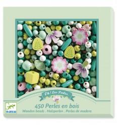 Djeco - 450 perlas de madera - Hojas y flores