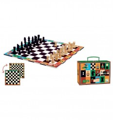 Djeco - Chess and checkers set with trip case