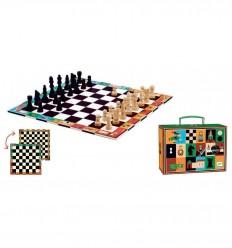 Djeco - Xadrez e damas em mala de viagem