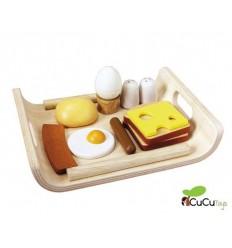 PlanToys - Bandeja de desayuno, juguete de madera